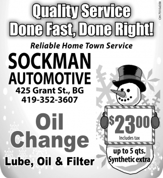 Oil Change, Lube, Oil & Filter $23