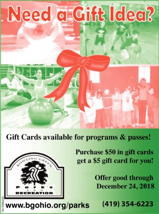Gifts Cards available for programs & passes!, Bowling Green Parks & Recreation