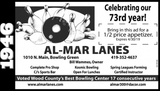 Voted Wood County's Best Bowling Center 17 consecutive years