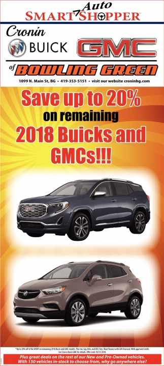 Save up to 20% on remaining 2018 Buicks and GMCs!