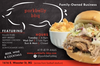 Pulled Pork, Beef Brisket, Smoked Chicken, Ribs