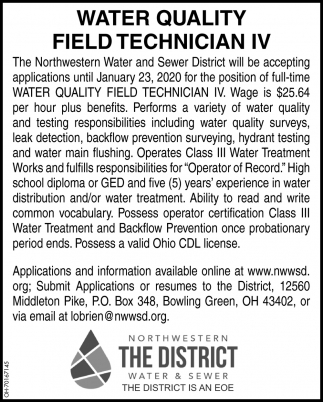 Water Quality Field Technician IV