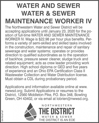 Water and Sewer Maintenance Worker IV
