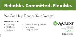 We can help finance your dreams!