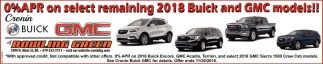0% APR on select remaining 2018 Buick and GMC models