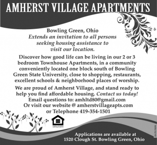 Applications Are Available, Amherst Village Apartments