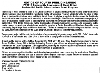Notice of Fourth Public Hearing, Wood County Board of